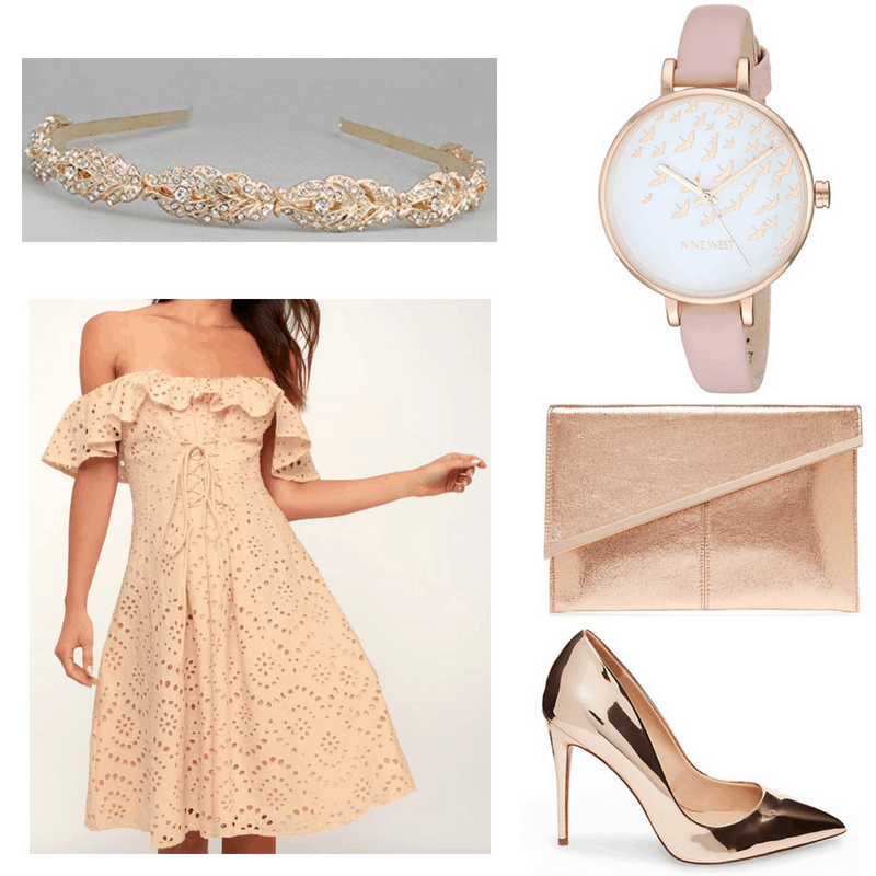 Peach dress, rose gold heels and clutch, pink watch and gold headband.
