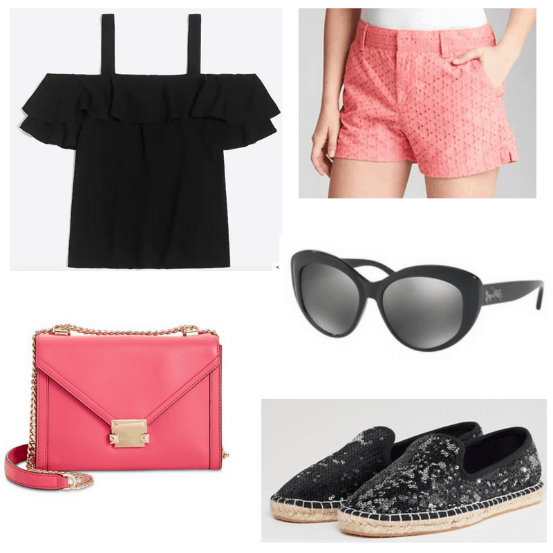 Pink shorts and bag, black top, sunglasses and espadrilles.