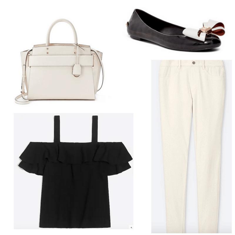 White legging pants and handbag, black top and flats.