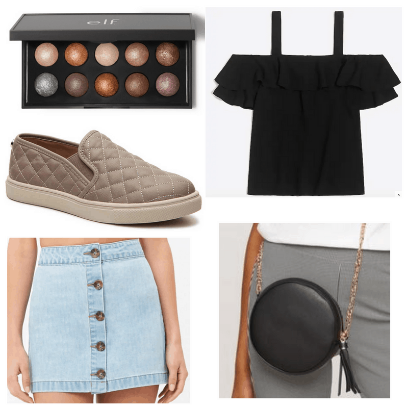 Black top, bag and eyeshadow palette, denim skirt and brown shoes.