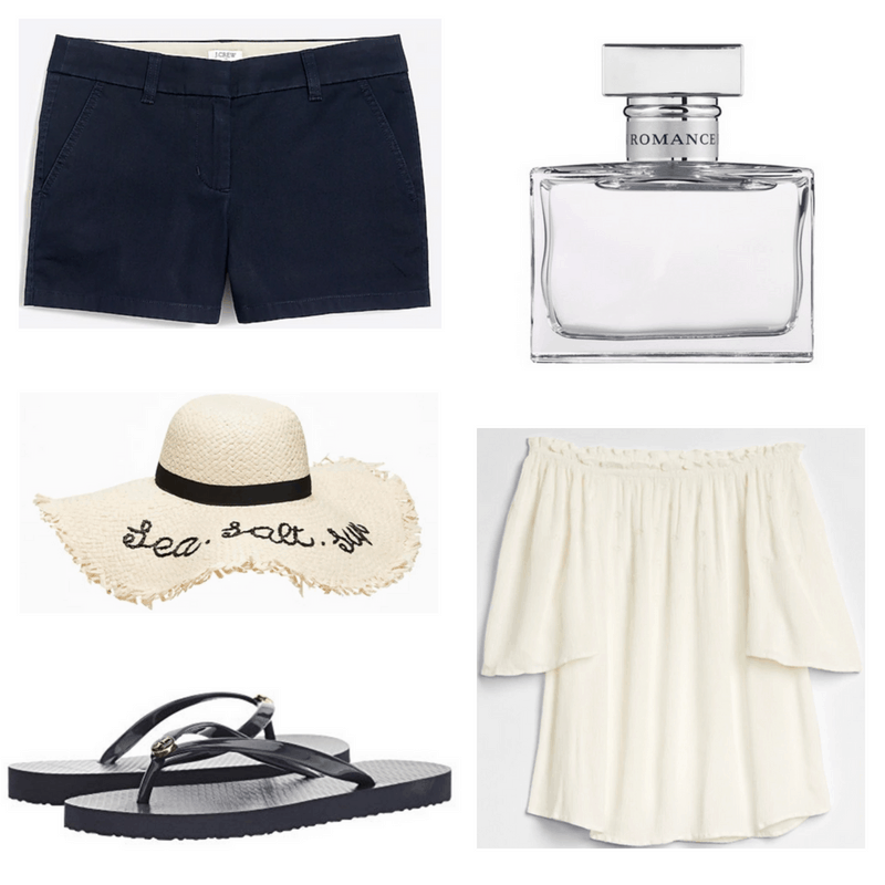 White perfume, sunhat and top, navy shorts and flip flops.