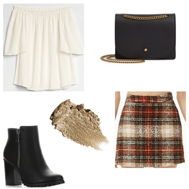Plaid skirt, white top, gold eyeshadow, black boots and crossbody bag.