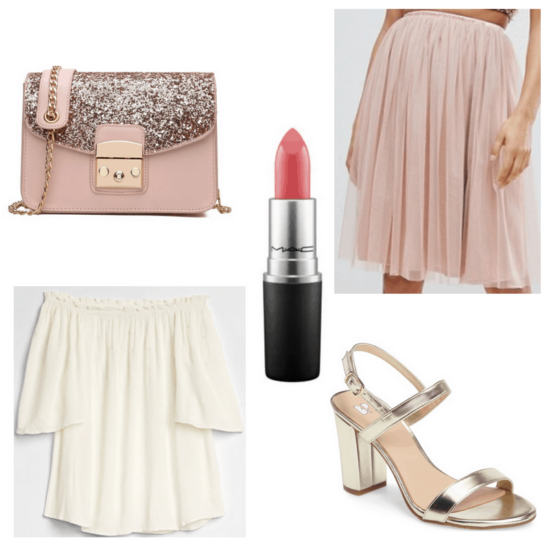 White top, gold heels, pink bag, skirt and lipstick.