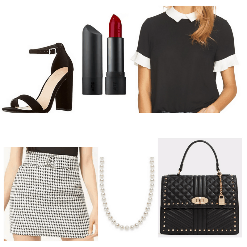 Pearl necklace, red lipstick, black top, skirt, heels and bag.