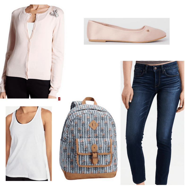 Light pink cardigan and ballet flats, jeans, white tank top and blue backpack.