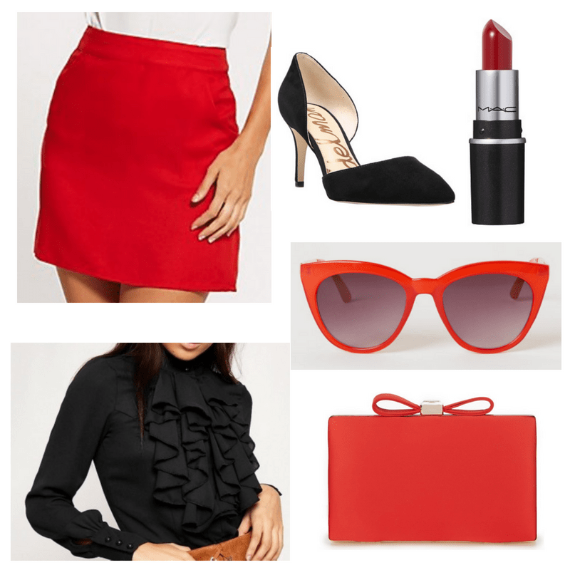 Black heels and top, red skirt, sunglasses, lipstick and clutch.