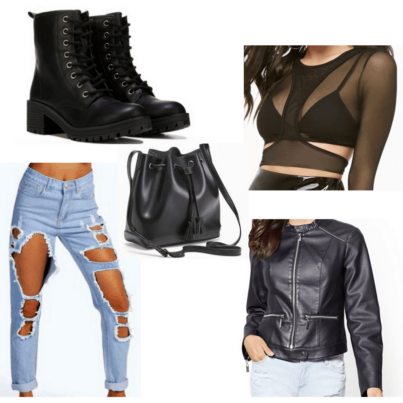 Ripped jeans, black top, leather jacket, bucket bag and combat boots.