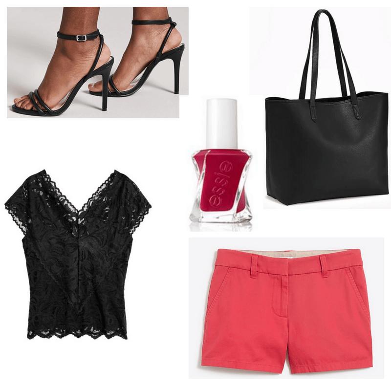 Red shorts and nail polish, black top, heels and handbag.