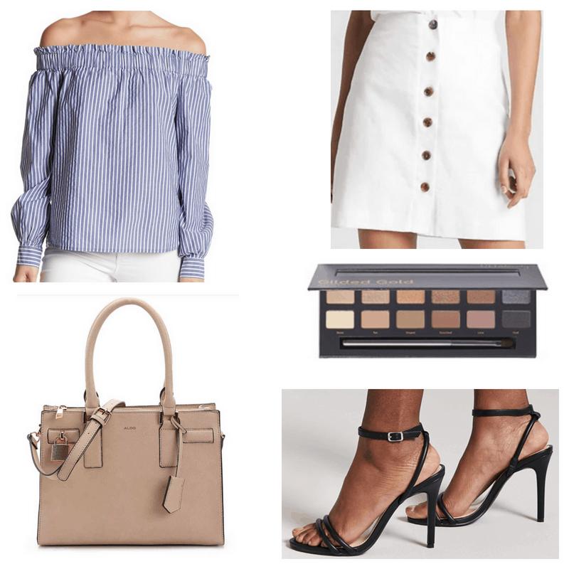 Blue top, black heels, white skirt, beige handbag and nude eyeshadow palette.