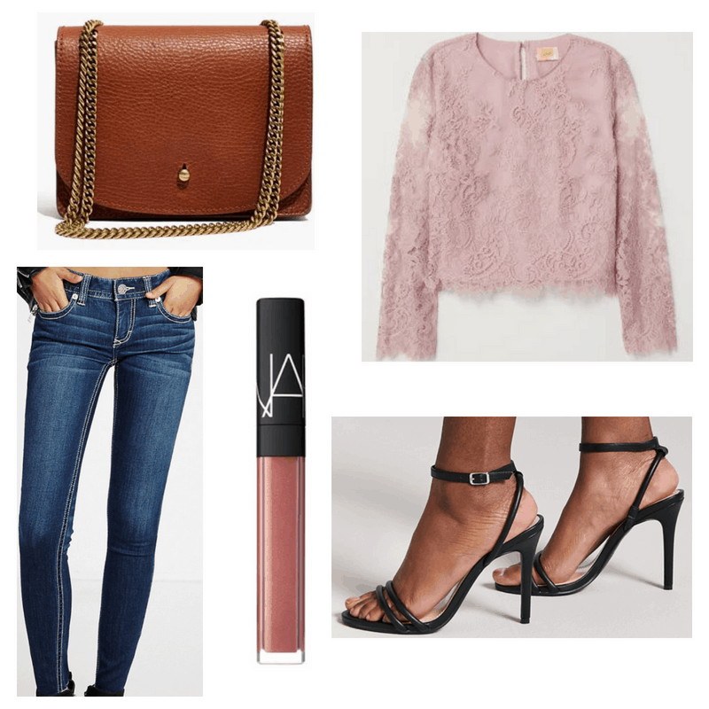 Pink top and lip gloss, blue jeans, brown bag and black heels.