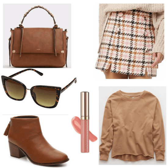Pink skirt and lip gloss, brown sunglasses, handbag, boots and sweater.