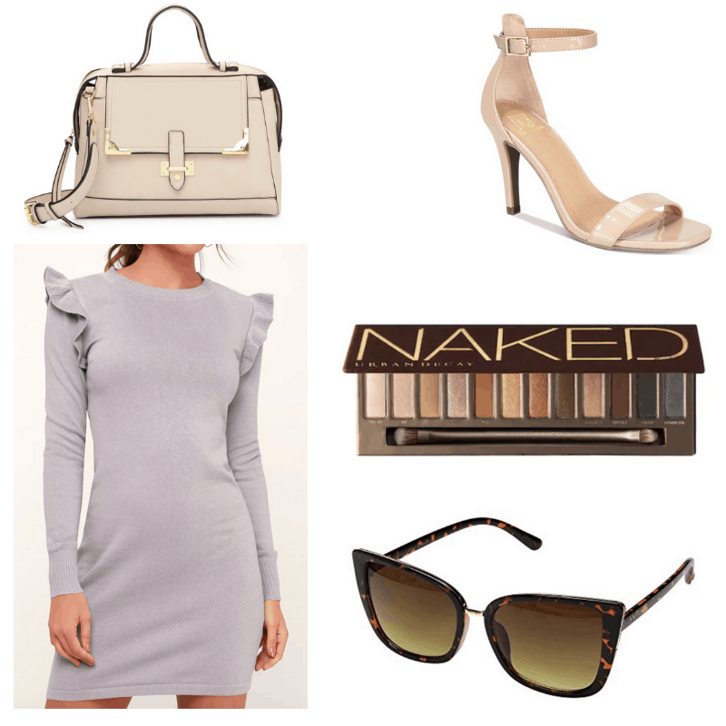 Grey dress, brown sunglasses, nude eyeshadow palette, handbag and heels.