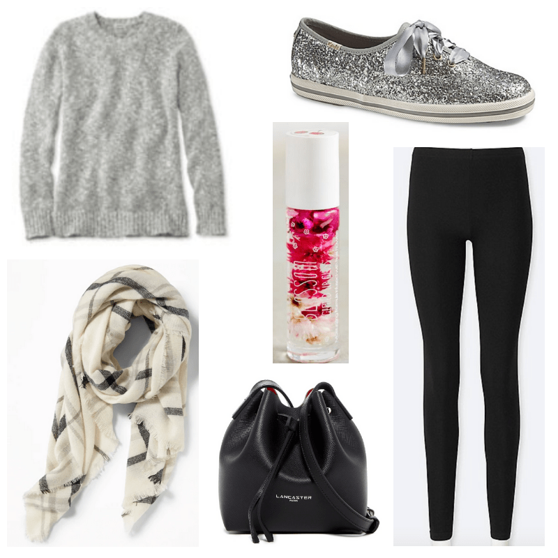 Plaid sweater, cherry lip gloss, black leggings and bag, gray sweater and sneakers.