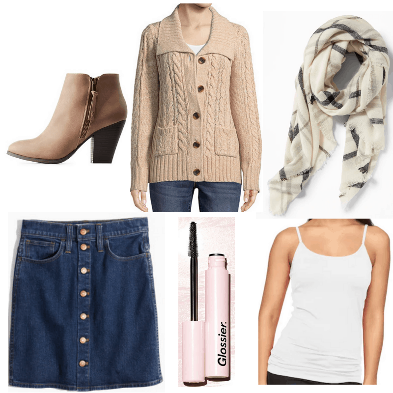 Jeans skirt, plaid scarf, U-Neck Sweater, ankle boots, white tank top, mascara.