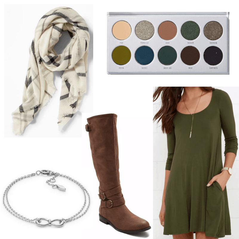 Green dress, brown boots, plaid scarf, earth eyeshadow, silver bracelet.
