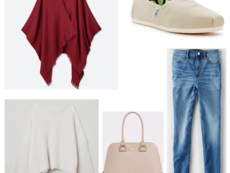 Blue jeans, red stole, off white bag, sweater and toms.
