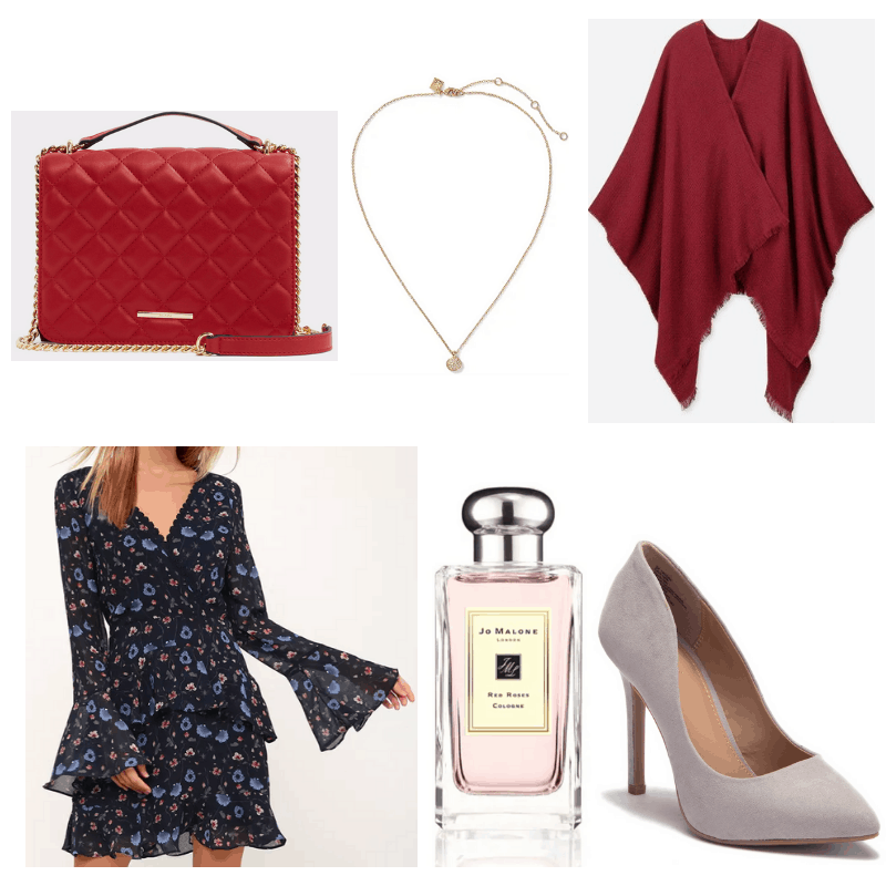 Blue dress, pink perfume, grey heels gold necklace and red stole and handbag.