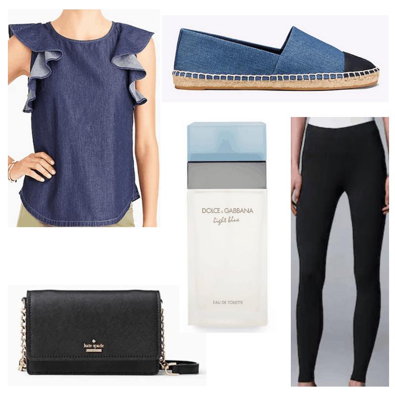 Jean top, espadrilles, black leggings, crossbody and light blue perfume.