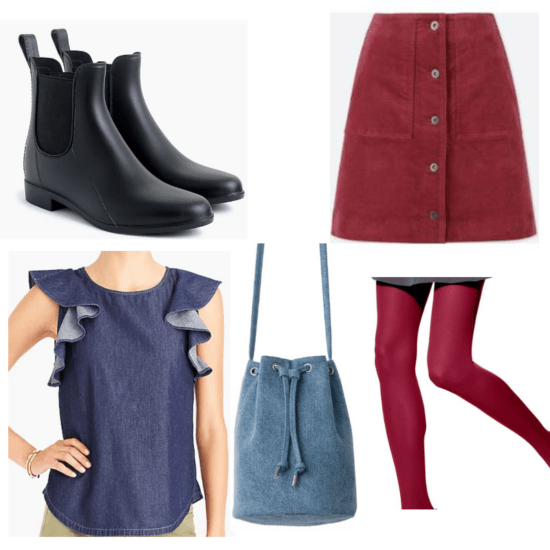 Black boots, red skirt and rights, jean top and bag.