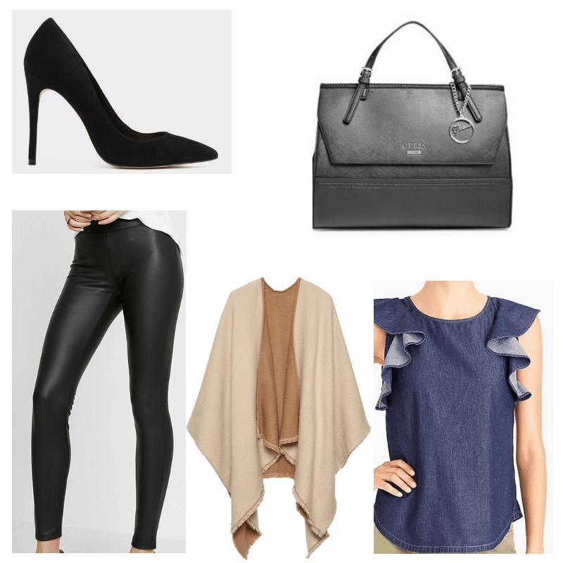 Jean top, leather pants, beige poncho, black heels and handbag.