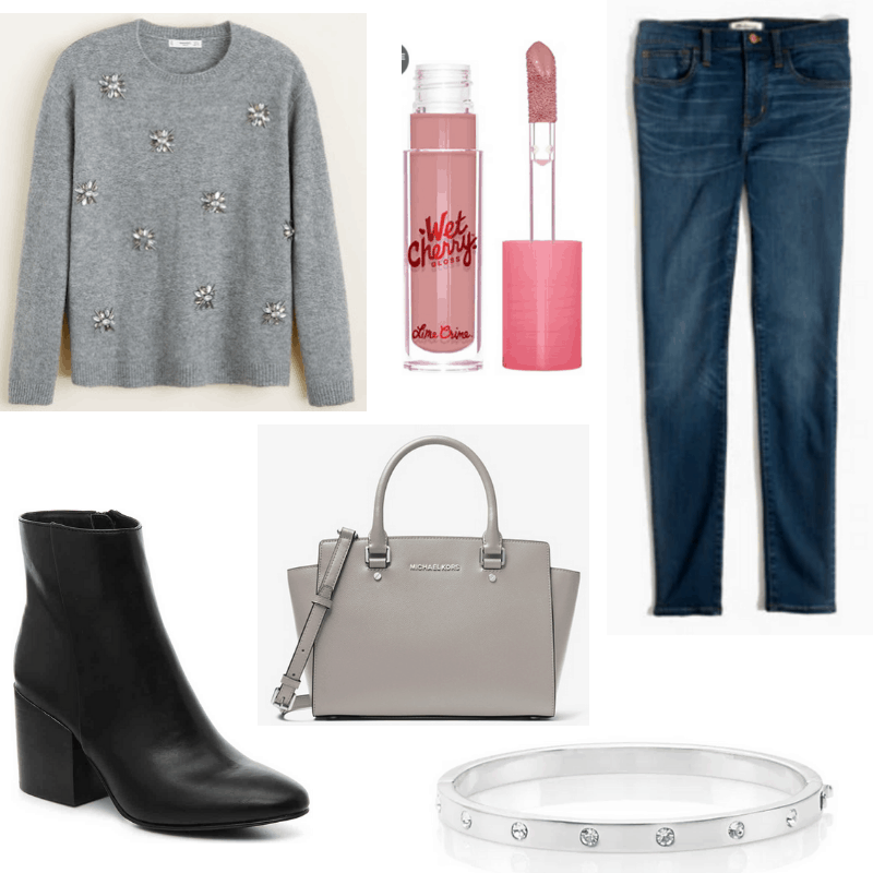 Pink lip gloss, grey sweater and handbag, black boots and blue jeans.