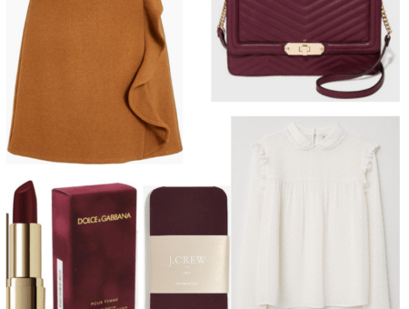 White blouse, brown skirt, burgundy lipstick, handbag, perfume and tights.