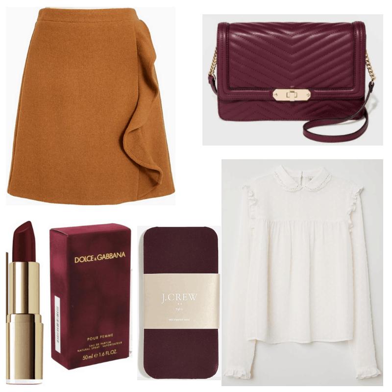 White blouse, brown skirt, burgundy lipstick, handbag, perfume and tights.
