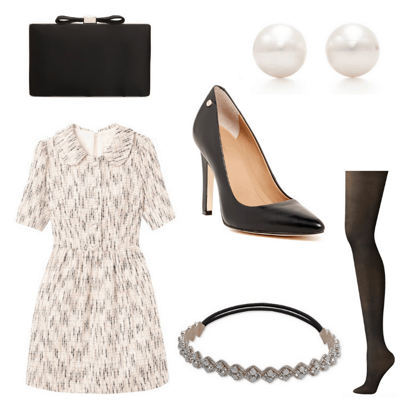 Tweed dress, white headband and pearls, black heels, tights and clutch.
