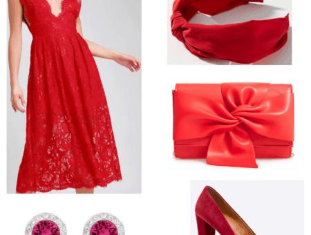Red dress, earrings, headband, clutch and heels.