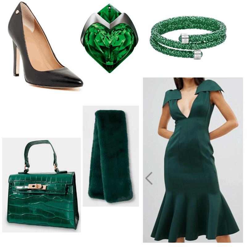 Black heels, green dress, shawl, bag, bracelet and perfume.