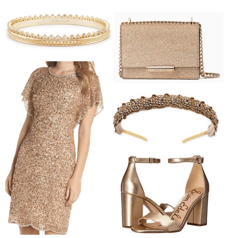 Gold dress, heels, bracelet, headband and bag.