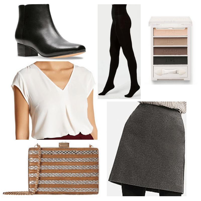Grey skirt, gold clutch, white blouse, black tights, boots and eyeshadow.