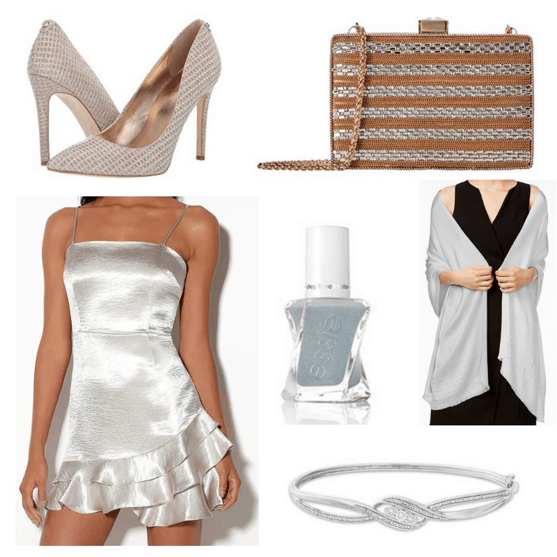 Gold clutch, silver dress, shawl, nail polish, bracelet and heels.