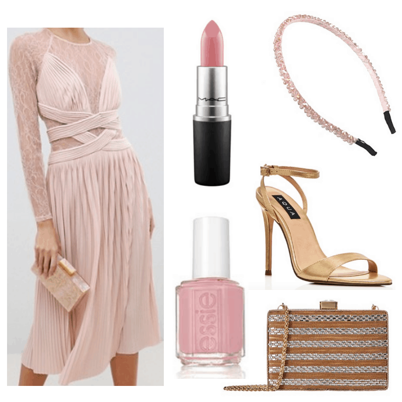 Pink dress, lipstick, headband and nail polish, gold clutch and heels.