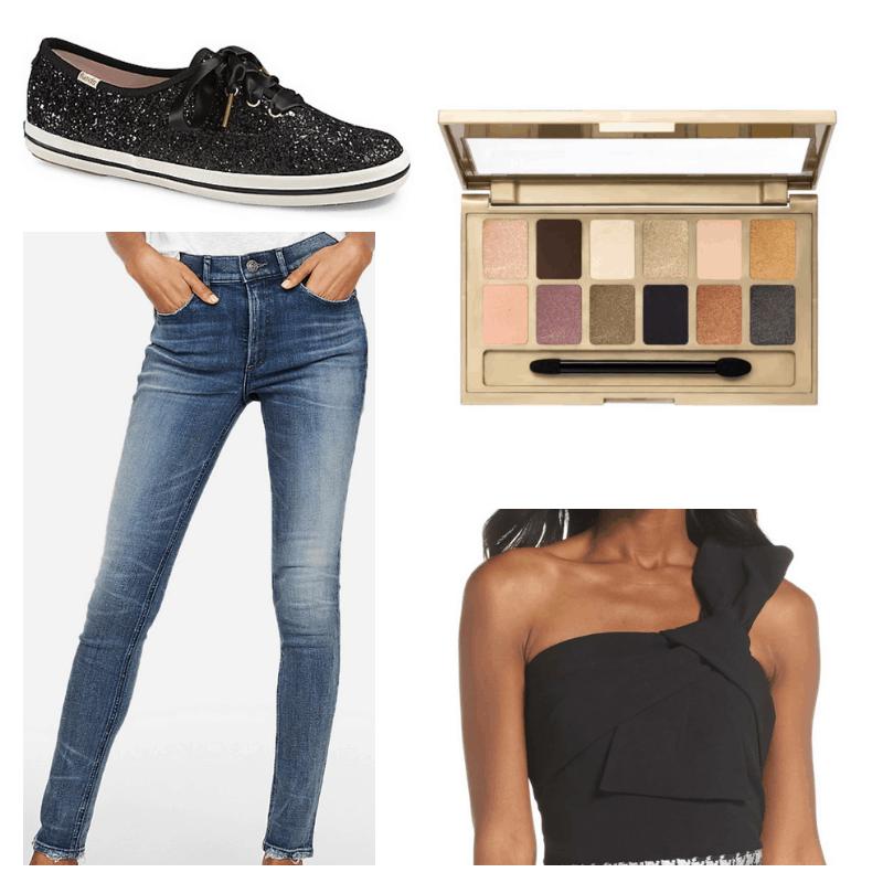 Jeans, black top, sneakers and eyeshadow palette.