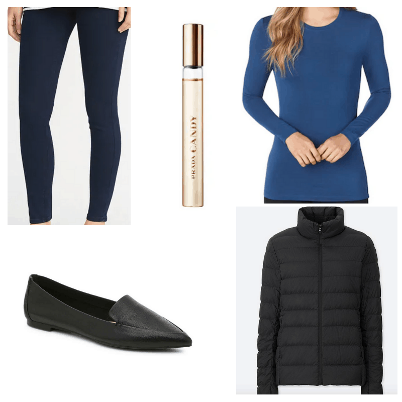 Black jacket and loafers, prada perfume, blue shirt and jeans.