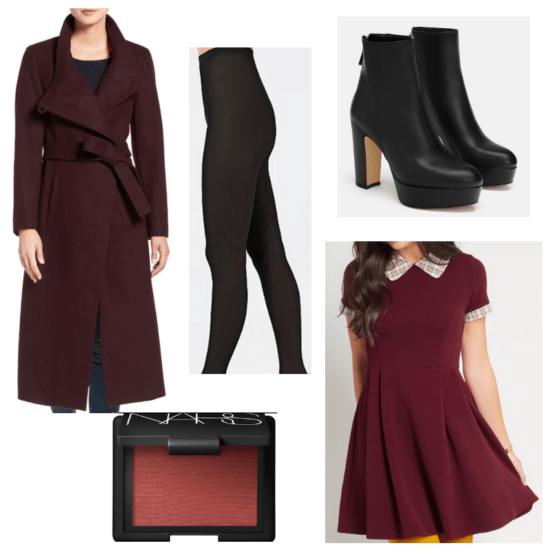 Black boots and tights, burgendy dress, coat and blush.