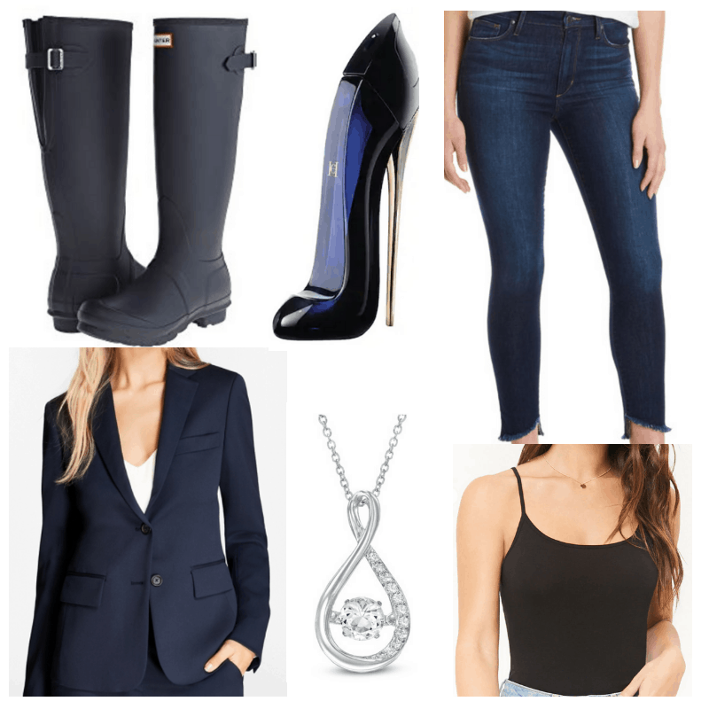 Black tank top, silver necklace, blue jeans, boots, perfume and blazer.