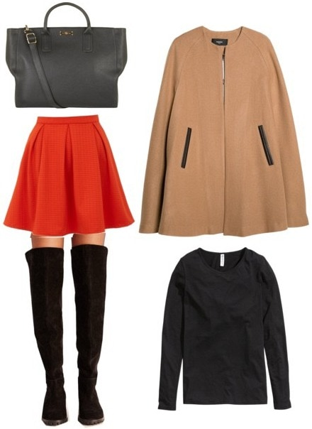 Cape coat, black top, red skirt, over the knee boots