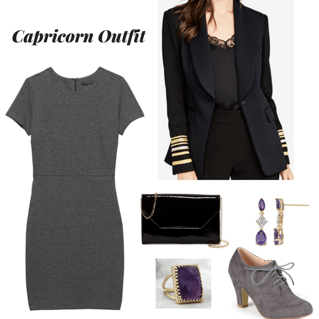 capricorn outfit zodiac outfit outfit inspired by astrology gray dress outfit black sailor blazer outfit black patent leather purse outfit amethyst and gold jewelry grey oxford heels outfit