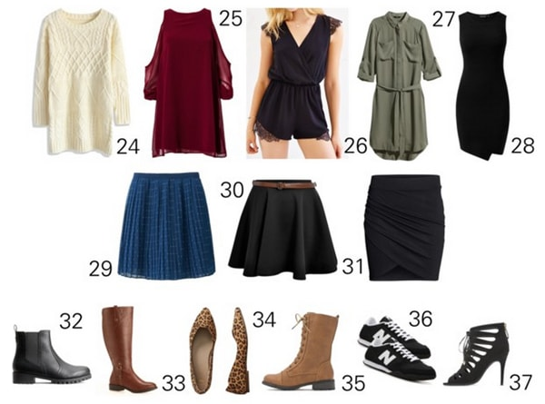 Capsule wardrobe sweaters, dresses, skirts, shoes
