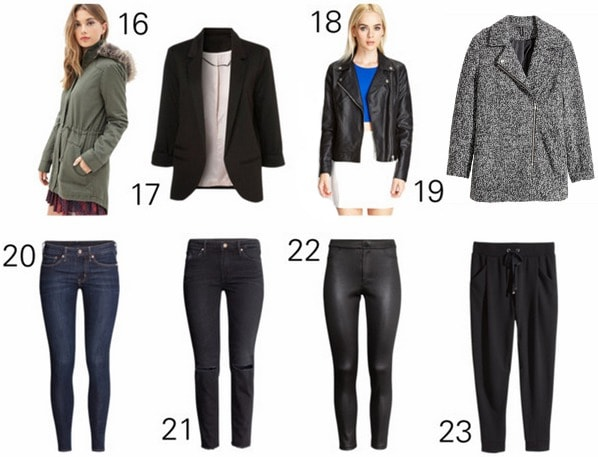 Capsule wardrobe outwear and bottoms