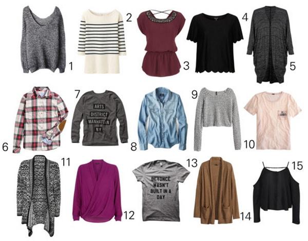 Capsule wardrobe tops
