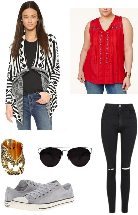 Outfit inspired by Falcon from Captain America Civil War: Batwing cardigan, red top, ripped jeans, sunglasses