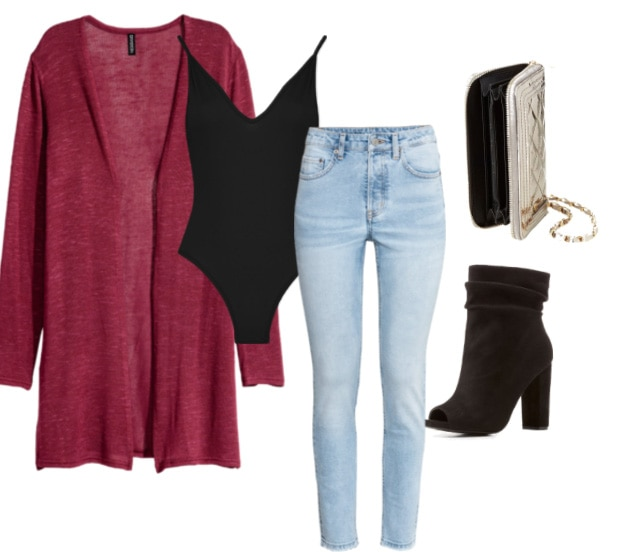Red cardigan outfit 3: Casual look with black bodysuit, light wash skinny jeans, peep-toe ankle booties in black suede, metallic clutch