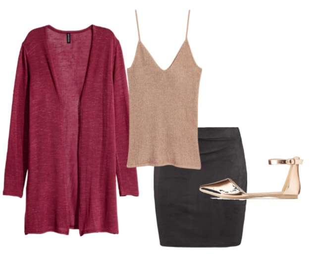 Red cardigan outfit 1: Classy cardigan outfit for work or an interview with black pencil skirt, simple champagne cami, gold ankle strap flats