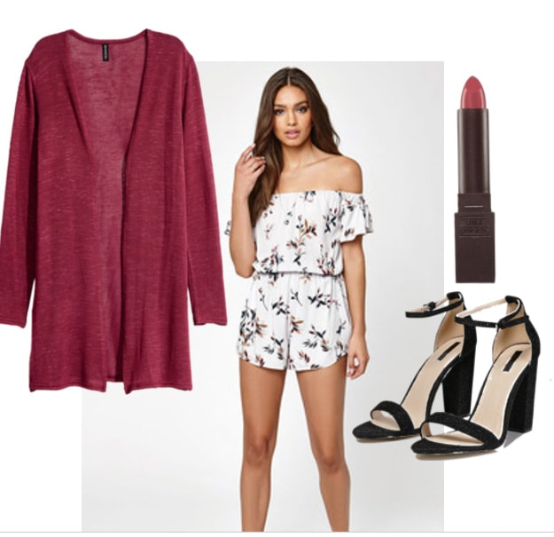 Red cardigan outfit 2: Fun night out outfit with off-the-shoulder romper, black strappy heels, lipstick
