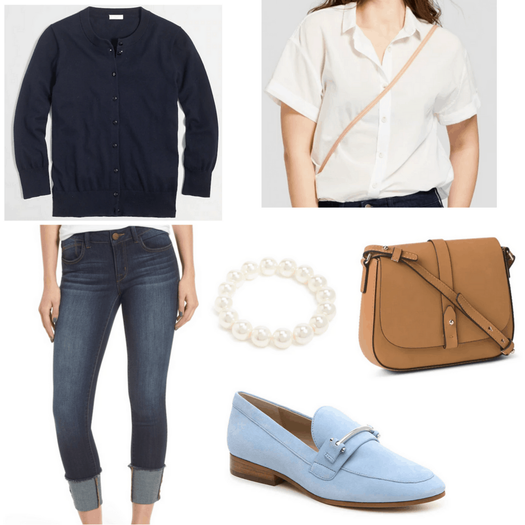 white button down shirt with navy cardigan, cuffed jeans, brown leather bag, pearl bracelet, and sky blue loafers