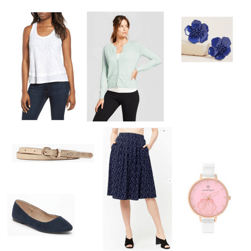 Outfit with mint cardigan, white lace tank, navy polka dot skirt, navy flats, blue flower earrings, metallic belt, and watch