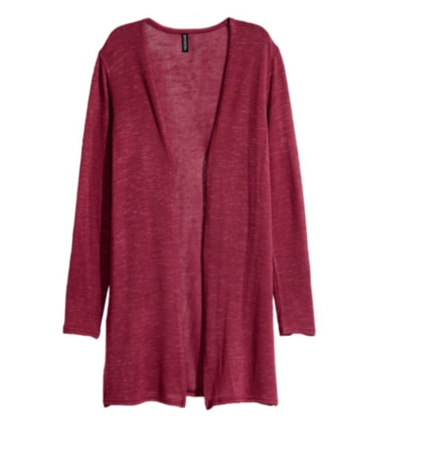 Dark red fine knit cardigan from H&M